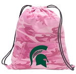 Michigan State Drawstring Backpack Pink Camo