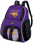 UNI Panthers Soccer Backpack or University of Northern Iowa Volleyball Practice Bag Purple
