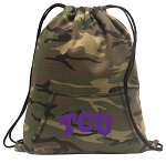 TCU Drawstring Backpack Green Camo