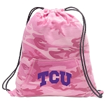 TCU Drawstring Backpack Pink Camo