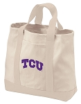 Texas Christian Tote Bags NATURAL CANVAS