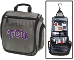 TCU Toiletry Bag or Texas Christian University Shaving Kit Organizer for Him Gray