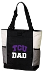 Texas Christian University Dad Tote Bag White Accents