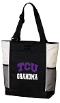 Texas Christian University Grandma Tote Bag White Accents