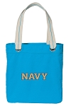 USNA Navy Tote Bag RICH COTTON CANVAS Turquoise
