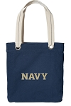 USNA Navy Tote Bag RICH COTTON CANVAS Navy