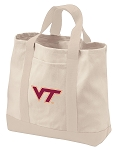 Virginia Tech Hokies Tote Bags NATURAL CANVAS