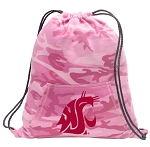 Washington State Drawstring Backpack Pink Camo