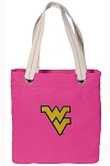 West Virginia Tote Bag RICH COTTON CANVAS Pink