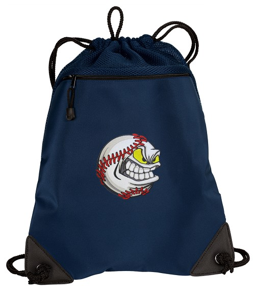 Baseball Drawstring Backpack-MESH & MICROFIBER Navy