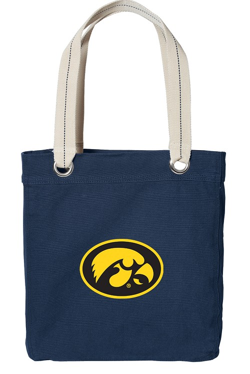 University of Iowa Hawkeyes Rich NAVY Cotton Tote Bag