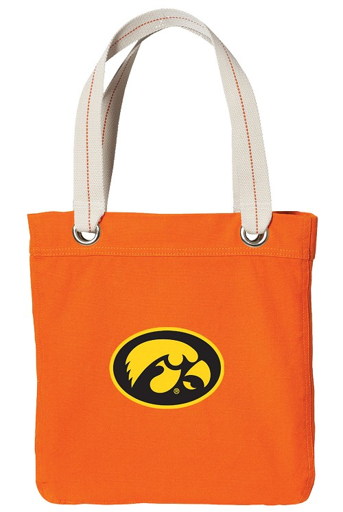 University of Iowa Hawkeyes NEON Orange Cotton Tote Bag