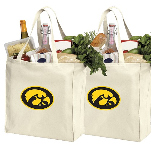 Iowa Hawkeyes Cotton Shopping Grocery Bags 2 PC SET